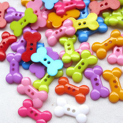 50pcs Dog Bone Toy Resin Buttons 2 Holes Sewing Scrapbooking Craft 18mm