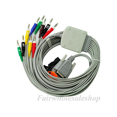 Medical 10 Lead ECG Cable Connector Fit Nihon Kohden Cardiofax K113B Banana 4