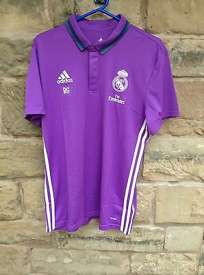 Brand New With Tags Real Madrid FC 2016/17 Adidas CL Polo Shirt Purple Large