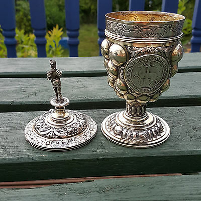 Superb Berthold Muller 1903 Repro of Medieval Period Silver Lidded Golbet Cup