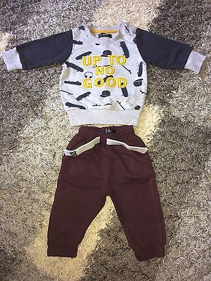 Baby Boys 3-6 Months Jumper And Bottoms. Ex Con. Slogan 'Up To No Good'