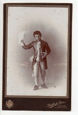 Cabinet Card Boy In Suit With Hat Photograph Original Antique Bullock Bros