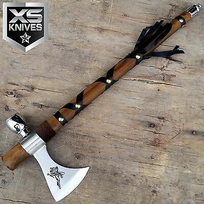 "19"" Tomahawk Non Functional Peace Pipe Axe Wooden Handle Hatchet"