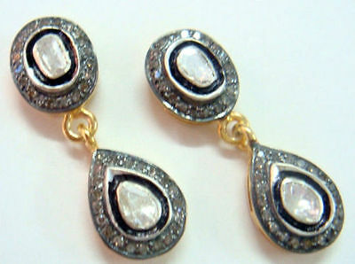 Victorian 2.40Ct Rose/antique Cut Diamond Stuninng Silver Earring,free Shipping