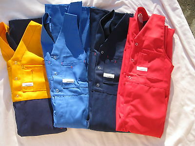 """kids safety action back work overalls'like dads"""" SIZES 4--5--6--8--aussie made"""
