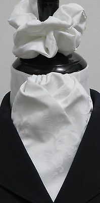 Ready Tied White Leaf Jacquard Dressage Riding Stock & Scrunchie - Hunting Show