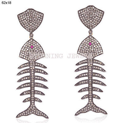 VINTAGE 6.40ctROSE CUT DIAMOND.925 STERLING SILVER FISH STYLE EARRING