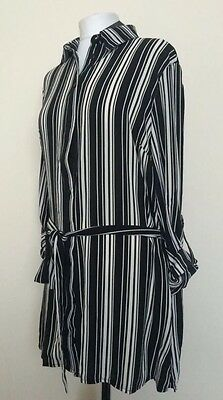 New Look Black And White Striped Shirt Dress Size 16 Ladies Summer