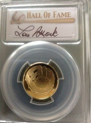 2014-W Gold $5 Baseball Proof PCGS PR70 Hall of Fame HOF Label - Lou Brock