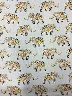 Elephants Multicoloured Light Weight Canvas Print Fabric By The Metre