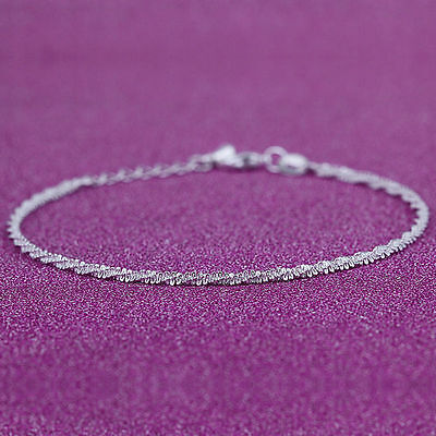 VERY PRETTY Twisted 925 Silver Anklet - 22-26 Cm Adjustable