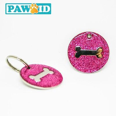 Glittery Deluxe Pet Tag Dog ID Name Tags Free Personalised Engraved - small 25mm