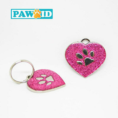 Glitter Deluxe Pet ID Tag - Heart Shape small Dog Cat Collar Tag - 25mm
