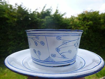Vintage  White Enamel Metal Bowl With Attached Plate