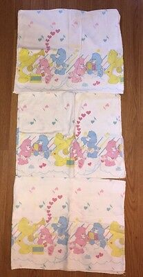 Vintage Lot Of 3 Care Bears Baby Infant Receiving Crib Blankets 1984 AGC