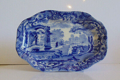 "Copeland Spode 'Spode's Italian' Design Blue and White small dish/tray. 6"" Long"