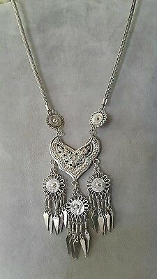 Silver Traditional Thai Hill Tribe Long Chain necklace with Hand Crafted Pendant