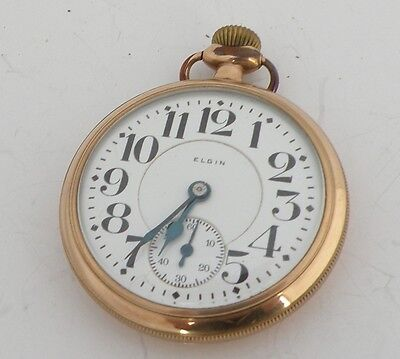 Vintage 10KGF elgin, 19 Jewels Railway, railroad Pocket Watch B. W. Raymond