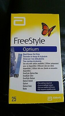 FreeStyle Optium blood glucose test strips x25