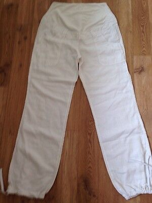 H & M Ladies White Linen Over The Bump Maternity Trousers -  Size 12-14