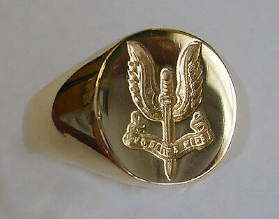 New 18ct Gold Special Air Service SAS Seal Style Signet Ring. Excellent Quality.