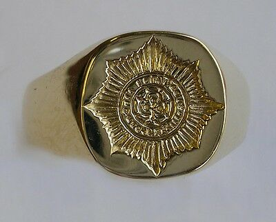 New 9ct Gold IRISH GUARDS Seal Style Signet Ring. Excellent Quality. Any size.