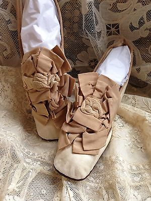 Beautiful Antique 1860s Victorian Leather Ribbon Rosette Wedding Shoes So Dainty