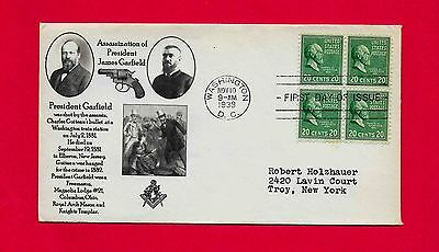 #825 James Garfield 1938 Prexie Fdc Assassinated By Charles Guiteau Masonic