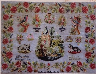 FRENCH ANTIQUE ALPHABET SAMPLER CROSS STITCH PATTERN CHART Albertine Bourgonnie