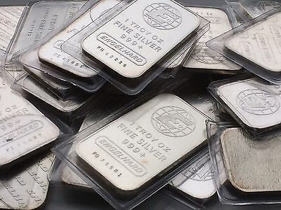 Vintage Various Type Engelhard 1 Oz Silver Bar .999