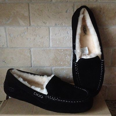 UGG Ansley Black Suede Moccasin Slippers Shoes US 8 Womens 3312