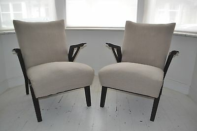 STUNNING PAIR VINTAGE SCULPTURAL ART DECO LOUNGE CHAIRS - 1930's
