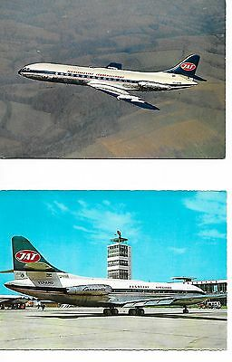 Airline issue postcard-JAT Yugoslav Airlines SE210  Caravelle aircraft x 2