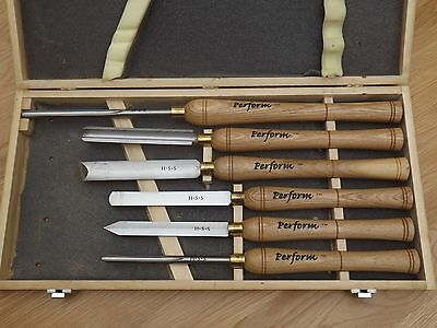 Woodturning chisels - boxed set of 6 HSS tools.