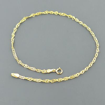 "10K Yellow Gold 2.3Mm 10"" Twisted Singapore Anklet Free Shipping And Gift Box"