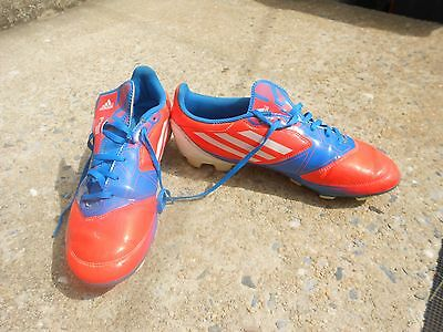 Adidas F50 mens soccer  Cleats Shoes ORANGE, BLUE WHITE size 8.5 GOOD CONDITION