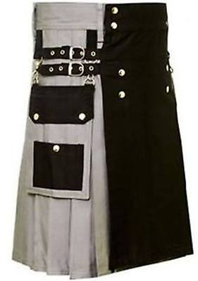 Scottish highland Grey&Black 100%cotton utility Unisex Adult Handmade Cargo kilt