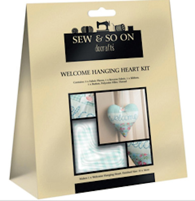 DOCRAFTS Sew & So On WELCOME HANGING Sew Your Own Applique HEART KIT New
