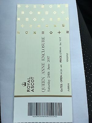 Royal Ascot Saturday 24th June 2017 Queen Anne Enclosure Ticket x1 £50