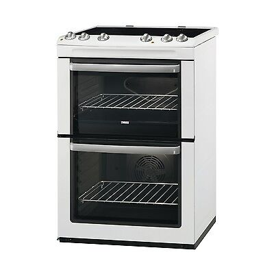 Zanussi ZCV668MW Freestanding 60cm White Double Oven Electric Ceramic Cooker