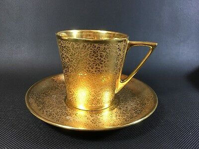 Stouffer China Gold Daisy & Rose Embossed Design HTF Coffee Cup/ Saucer 3Q