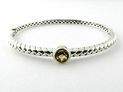 Town and Country Sterling Silver and 14K Yellow Gold Peridot Bangle Bracelet