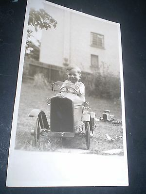 social history 1920's cute boy in toy pedal car rp photo postcard