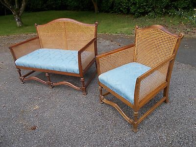 Edwardian bergere cane suite two seat sofa and armchair