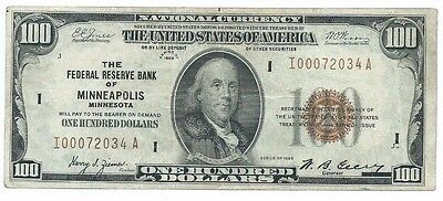 1929 Federal Reserve Bank MINNEAPOLIS $100 National Currency Note