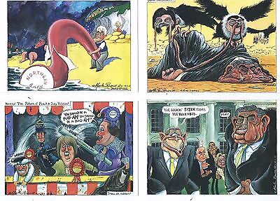 Political Postcard Set Of 8 Postcards Cartoons As Seen In The Guardian 2008