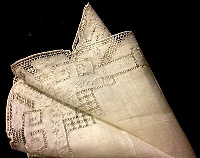 Exceptional Bridal Handkerchief Drownwork Needlework White Embroidery Buttonhole