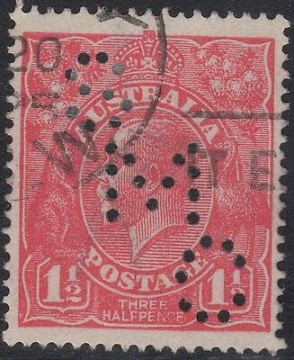 """Australia KGV 1½d red SW private perfin, 23L2 """"dark band lower right"""", used"""