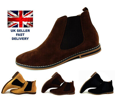 Mens Suede Chelsea Boots Italian Style Smart Casual Western Slip On Ankle Shoes