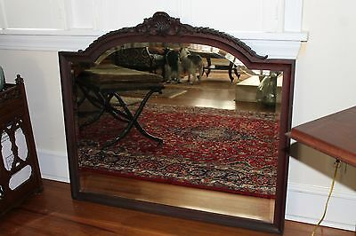 Victorian Antique wood framed and beveled glass Wall Mirror